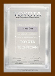 Andy Lam, Certified TOYOTA Technician